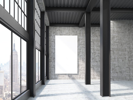 reusing: New York factory building with pillars and large vertical poster on the wall. Concept of reusing factories for other purposes. 3d rendering. Mock up. Stock Photo