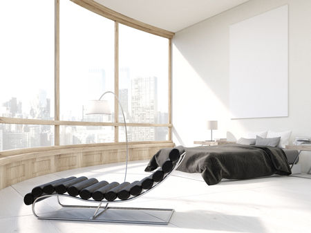 Master bedroom with bed, massage chair and large poster on white wall. Panoramic window with city view. 3d rendering. Mock up