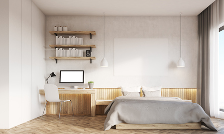 Front view of bedroom and home office interior. Desk is standing near master bed. Large panoramic window. Concept of working at home. 3d rendering. Mock up. Фото со стока
