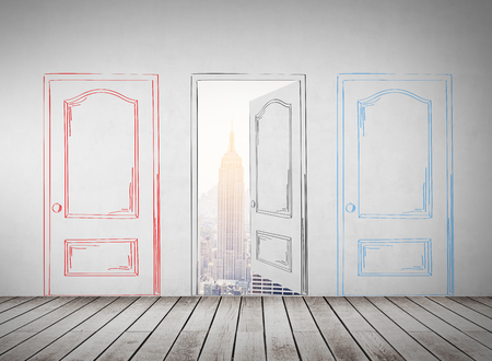 new opportunity: Three drawn doors in concrete wall. One of them is open. New York City panorama is seen in the background. Concept of new opportunity