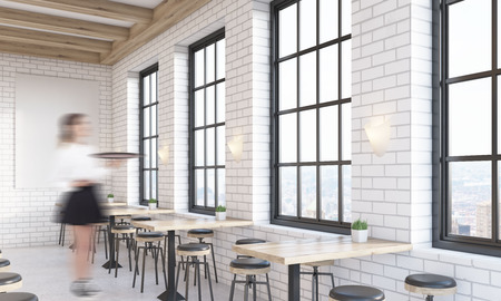 cafe interior with large vertical poster on white brick wall woman waiter is standing near - Large Cafe Interior