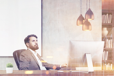 toning: Portrait of bearded CEO sitting in his office and contemplating. Large white poster is behind him. 3d rendering. Mock up. Toned image. Double exposure