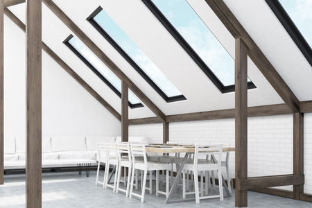 attic: Attic interior with sofa and windows in the roof. Sky is seen through them. Concept of compact living room. 3d rendering.