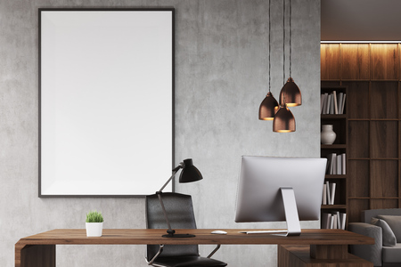ceo office: Poster in CEO office with bookcase, sofa, table and large vertical poster on concrete wall. 3d rendering. Mock up.