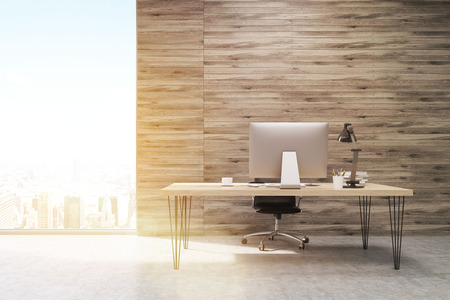 ceo office: CEO office with wooden walls and large panoramic windows. Workstation is standing on the table. Concept of hard work. 3d rendering. Mock up. Toned image