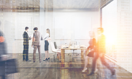People walking and discussing current issues in conference room with four posters on the wall. 3d rendering. Toned image. Double exposure Stock Photo