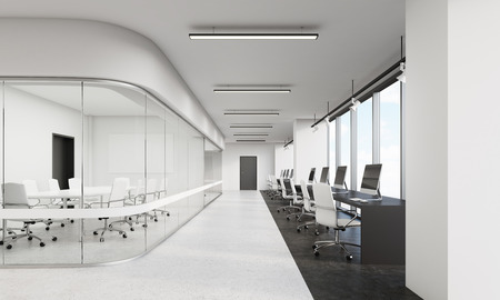conference room: Office with row of computers and conference room with rounded corner. Concept of modern architecture. 3d rendering. Mock up.