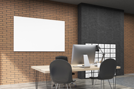 filing cabinet: View of office with filing cabinet and horizontal poster. CEO desk is standing near brick wall. 3d rendering. Mock up.