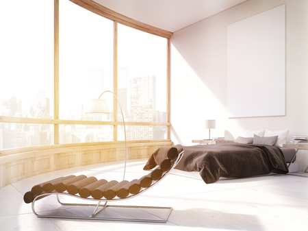 Master bedroom with bed, massage chair and large poster on white wall. Panoramic window with city view. 3d rendering. Mock up. Toned image Stock Photo