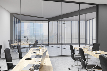clean office: Office with glass walls, open office area and bosss study in modern company. Concept of edgy interior decoration. 3d rendering.