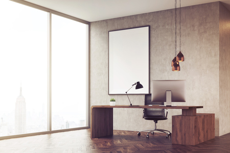 ceo office: Side view of CEO office with table and large vertical poster on concrete wall. 3d rendering. Mock up. Toned image Stock Photo