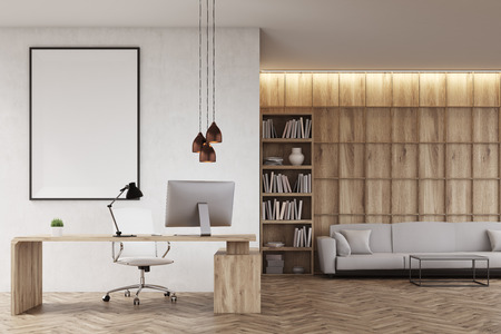 ceo office: CEO office with bookcase, sofa, table and large vertical poster on concrete wall. Wooden decoration in the background. 3d rendering. Mock up.