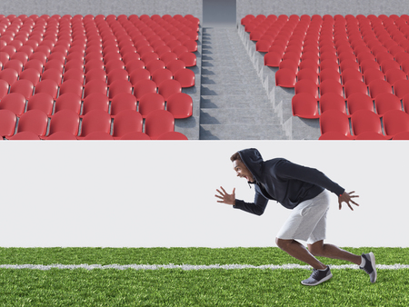 runner up: African American athlete is running on soccer field. Concept of being fit. 3d rendering. Mock up. Stock Photo