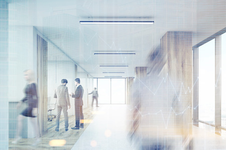 double exposure: Rear view of man entering office corridor with wooden columns and row of conference rooms. 3d rendering. Mock up. Toned image. Double exposure