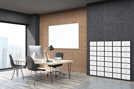 filing cabinet: Side view of office with filing cabinet and horizontal poster. CEO desk is standing near panoramic window with cityscape. 3d rendering. Mock up. Stock Photo