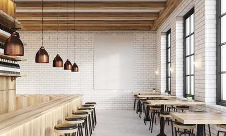 bar interior: Bar interior with counter, stools and square tables. Vertical poster on white brick wall. Concept of drinking. 3d rendering. Mock up