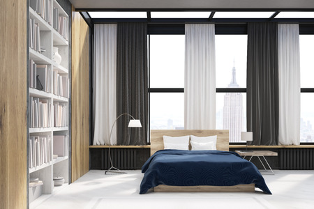 Side view of modern new york bedroom with bookcase large vertical