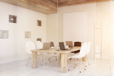 toning: Side view of conference room with glass walls, vertical poster and a wooden ceiling. Concept of modern interior design. 3d rendering. Mock up. Toned image Stock Photo