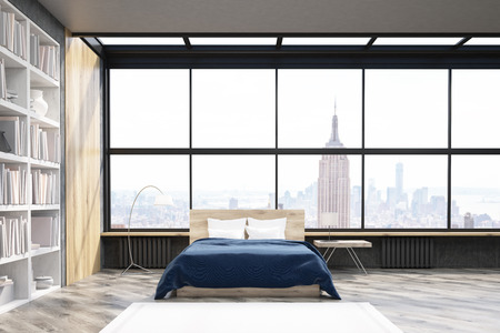 flooring: View of modern New York bedroom with bookcase, large vertical poster and window. Concept of comfortable home. 3d rendering. Mock up