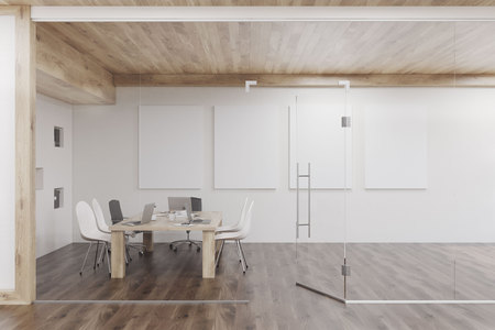 glass ceiling: Conference room with glass walls, four vertical posters and a wooden ceiling. Concept of modern interior design. 3d rendering. Mock up Stock Photo