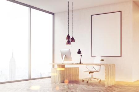 ceo office: Corner of CEO office with table and large vertical poster on concrete wall. Panoramic window with New York City view. 3d rendering. Mock up.Toned image