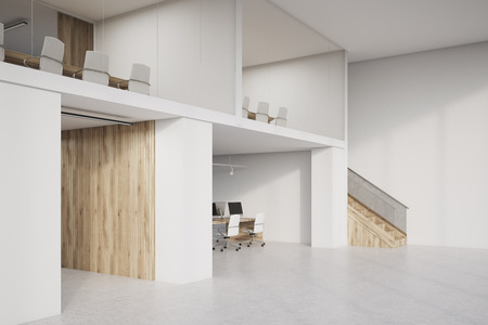 two storey: Side view of two storey office with lots of conference rooms and open office areas. Concept of no privacy and low work efficiency. 3d rendering. Mock up. Stock Photo