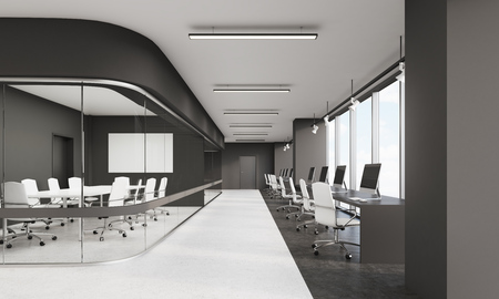 photo real: Long conference room and row of computers along panoramic window in office with edgy design. Concept of design. 3d rendering. Mock up