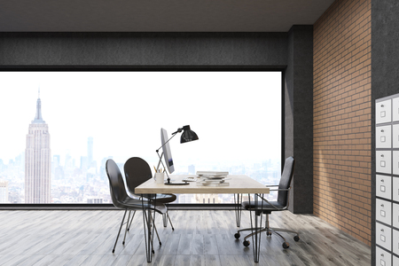 filing cabinet: New York office with filing cabinet. CEO desk is standing near panoramic window with cityscape. 3d rendering. Mock up.