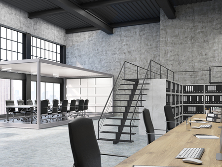 Aquarium board room in open office with stairs and row of bookcases with binders. Concept of contemporary workplace. 3d rendering.