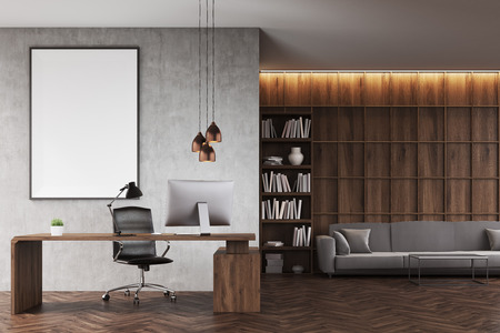 Front view of CEO office with bookcase, sofa, table and large vertical poster on concrete wall. 3d rendering. Mock up.