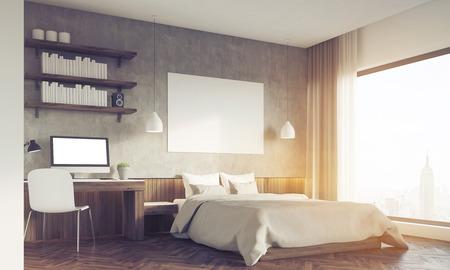 master bedroom: Sunlit bedroom in big city. Master bed with horizontal poster, computer on desk. Bookshelves. 3d rendering. Mockup. Toned image Stock Photo