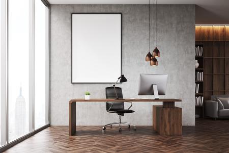 Primo Piano Di Ufficio CEO Con Libreria, Divano, Tavolo E Poster ...