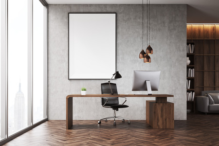 ceo office: CEO office with bookcase, sofa, table and large vertical poster on concrete wall. 3d rendering. Mock up.