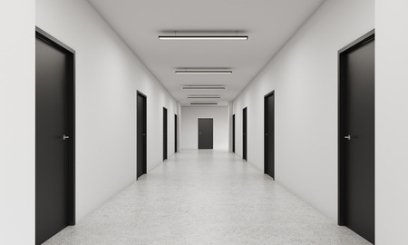 approach: Long corridor with rows of closed doors. Concept of infinite opportunities for success and toughness of choice. 3d rendering