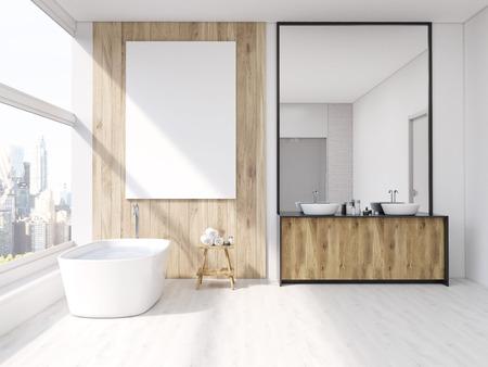Iterior de salle de bains avec miroir, baignoire, table avec des serviettes et lavabo. Grande affiche verticale sur le mur, fenêtre panoramique. rendu 3d. Maquette