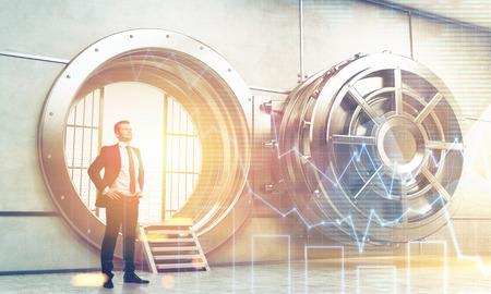 money vault: Confident businessman is standing near wide open vault door. Concept of money saving. 3d rendering. Toned image. Double exposure