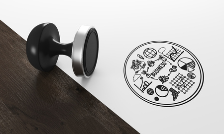 qualify: Black stamp lying on white and dark wood background with round business sketch near it. Concept of stamping and legal work. 3d rendering
