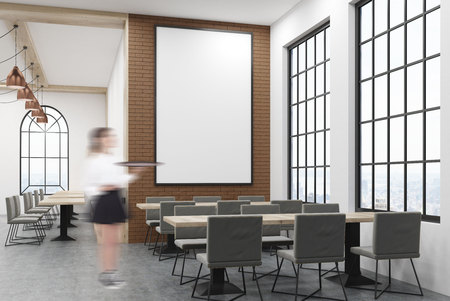 entrepreneurship: Cafe interior with large vertical poster on brick wall. Woman waiter is standing near one of the tables. Concept of eating out. Mock up. 3d rendering.
