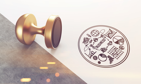qualify: Stamp lying on white and gray background with round business sketch near it. Concept of stamping and legal work. Toned image. 3d rendering