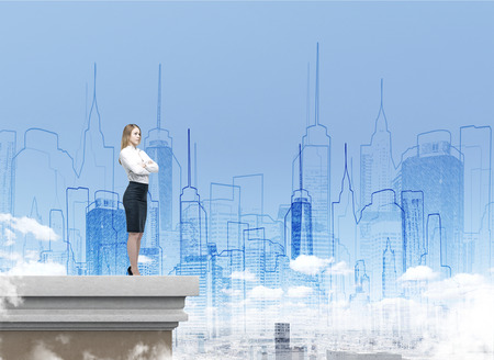 Side view of blond businesswoman standing on rooftop. Big city is seen in the background. City sketch is depicted above it. Double exposure