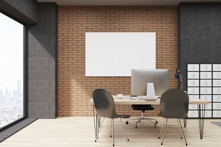 filing cabinet: Front view of office with filing cabinet and horizontal poster. CEO desk is standing near panoramic window with cityscape. 3d rendering. Mock up. Stock Photo