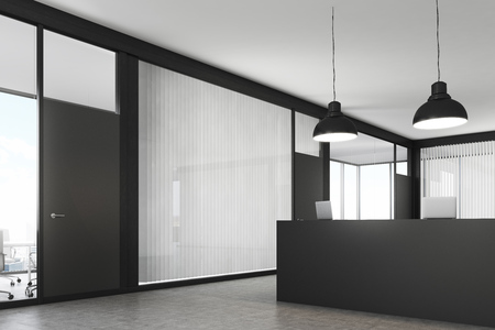 standing reception: Side view of an office lobby. The reception counter is standing there. Meeting rooms are seen in the background. 3d rendering. Mock up. Stock Photo
