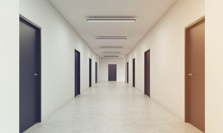 featureless: Long corridor with rows of closed doors. Concept of infinite opportunities for success and toughness of choice. 3d rendering. Toned image Stock Photo