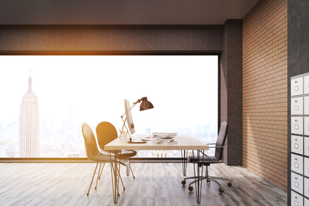 filing cabinet: New York office with filing cabinet. CEO desk is standing near panoramic window with cityscape. 3d rendering. Mock up. Toned image