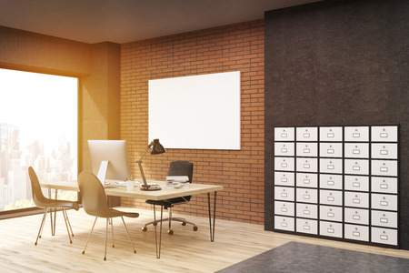 filing cabinet: Side view of office with filing cabinet and horizontal poster. CEO desk is standing near panoramic window. 3d rendering. Mock up. Toned image Stock Photo