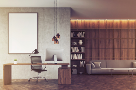 ceo office: Front view of CEO office with bookcase, sofa, table and large vertical poster on concrete wall. 3d rendering. Mock up. Toned image Stock Photo