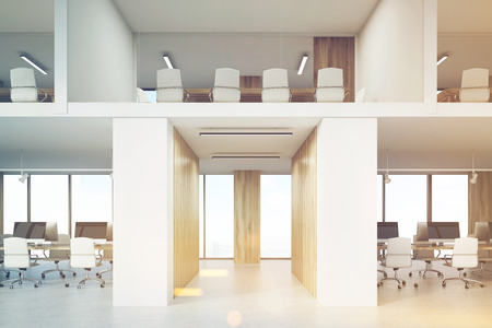 toning: Two storey office with lots of conference rooms and open office areas. Concept of no privacy and low work efficiency. 3d rendering. Mock up. Toned image