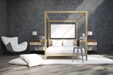 bedroom bed: Bedroom interior containing a bed with pillars, an armchair and two bedside tables. Large horizontal poster is hanging on concrete wall. 3d rendering. Mock up Stock Photo