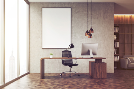 ceo office: CEO office with bookcase, sofa, table and large vertical poster on concrete wall. 3d rendering. Mock up. Toned image