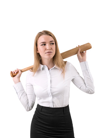toughness: Isolated portrait of blond businesswoman holding a baseball bat. Concept of toughness. Mock up